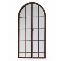 Miroir fenêtre archée en métal bruni