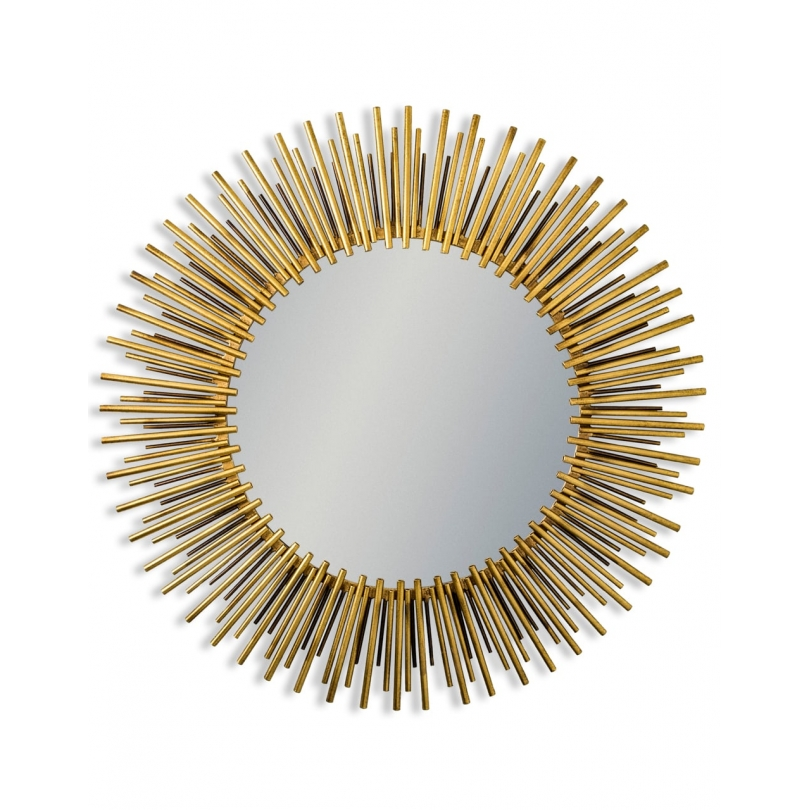 Miroir soleil en métal doré