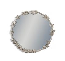 Miroir rond avec papillons, argenté