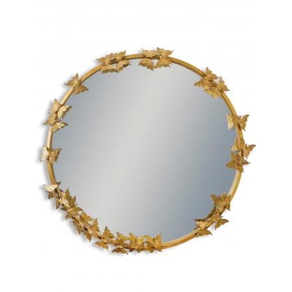 Miroir rond avec papillons, doré