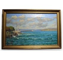 "Tableau ""Lac Léman "" signé V. GILLIAND 1939"