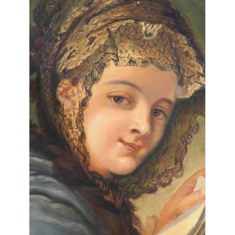 peintures tableau ovale portrait femme moinat sa antiquit s d coration. Black Bedroom Furniture Sets. Home Design Ideas