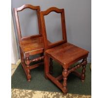 Paire de chaises Lorraine, pieds tournés