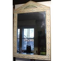 Miroir en bois sculpté crème et bleu
