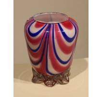 Vase en verre de Clichy rose et bleu (ébréché)