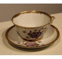 Tasse et sous-tasse en porcelaine de Limoges