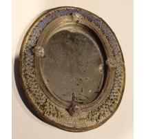 Miroir ovale cadre en micro mosaïque myosotis