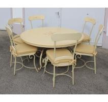 Table et 6 chaises en fer et bois