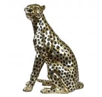 """Bronze """"Guépard assis"""" argenté, taille nature"""