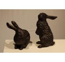 Couple de lapins en bronze