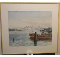 """Aquarelle """"Lac de Zürich"""" signé E. FREI 1954"""
