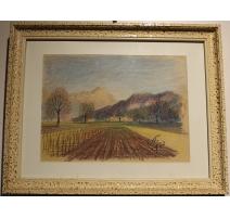 """Pastel """"Champ labouré"""" signé E. FREI 1952"""