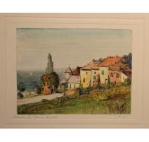 """Aquarelle """"Thonon les Bains"""" signé E. FREI 1951"""