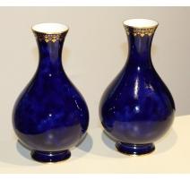 Paire de vases de Sèvres cobalt et or