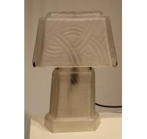 Lampe style Art Deco rectangulaire en verre gravé