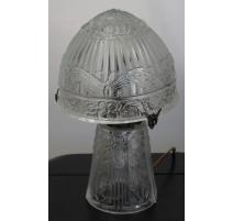 Lampe style Art Deco ronde en verre moulé