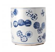Pot à pinceau bleu blanc décor Billes
