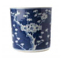 Pot à pinceau bleu blanc décor Cerisier