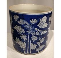 Pot à pinceau bleu blanc décor Bambou