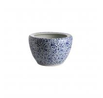 Cache-pot bleu blanc décor de Fleurs