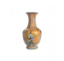 Vase orange en porcelaine décor oiseaux