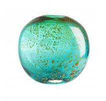 Vase ovale en verre vert et or, grand