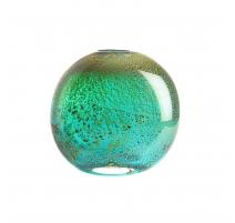 Vase ovale en verre vert et or, petit