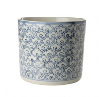 Pot à pinceau bleu blanc décor Torsade