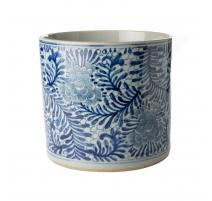 Pot à pinceau bleu blanc décor Lianes