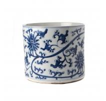 Pot à pinceau bleu blanc décor Lotus