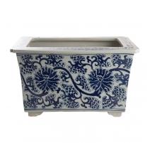 Jardinière rectangulaire bleu blanc décor Lotus