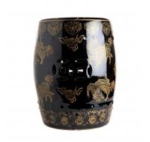 Tabouret en porcelaine noir et or