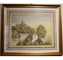 """Gravure """"Le vieux Lausanne"""" d'après Samuel NAEF"""