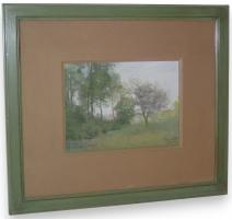 """Pastel """"Landscape, trees, flowers"""