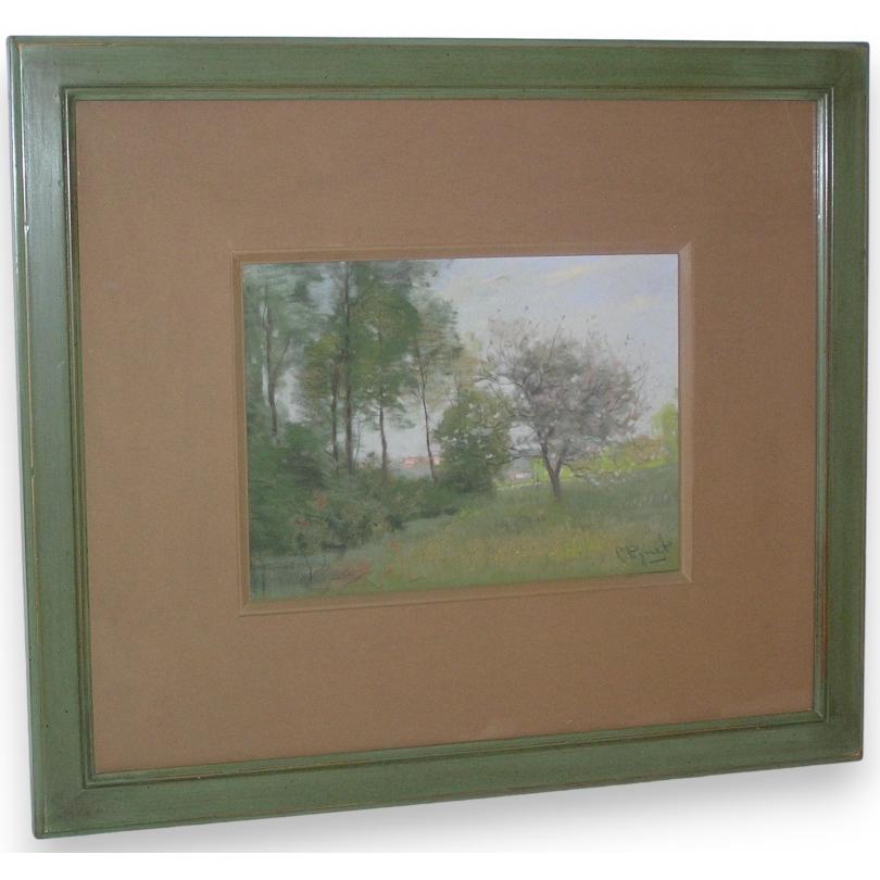"""Pastel """"Paysage, arbres fleurs"""
