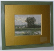 "Pastel ""Landscape with river""."