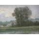Pastel Paysage avec rivière .