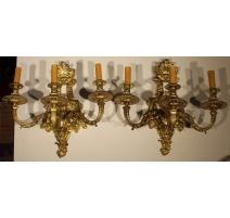 Paire d'appliques Napoléon III à 3 lumières