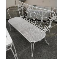 Canapé de jardin en fer forgé blanc