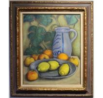 """Tableau """"Nature morte aux citrons"""" signé LEGAST 74"""