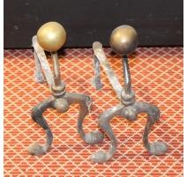 Paire de supports d'outils de cheminée en laiton
