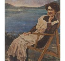 """Tableau """"La lecture au bord d'un lac"""" signé GALIN"""