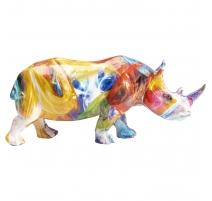 Mini Rhinocéros en résine multicolore