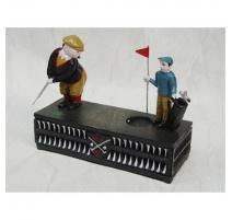 """Crousille """"Golfeur"""" en fonte polychrome"""