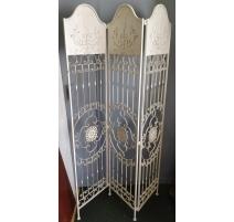 Paravent à 3 vantaux en fer peint blanc