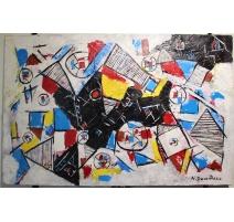 """Tableau """"Abstrait"""" signé N. DUMITRESCO"""