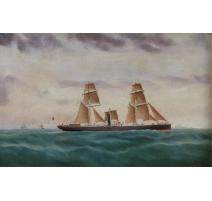 """Tableau """"Marine"""" signé C. HANSSON 1922"""