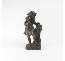 """Bronze """"Michelange façonnant la tête d'un faune"""""""