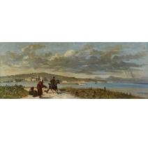 """Tableau """"Fontarabia"""" signé A. DUMONT 1878"""