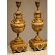 Paire de lampes en marbre beige et bronze doré
